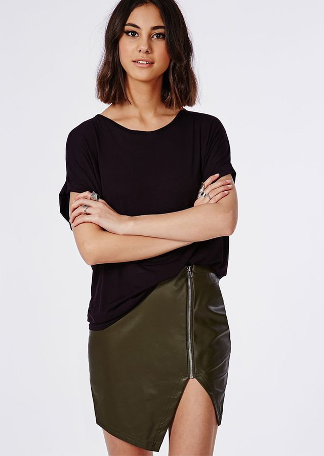 Missguided Alanis Faux Leather Asymmetric Zip Skirt