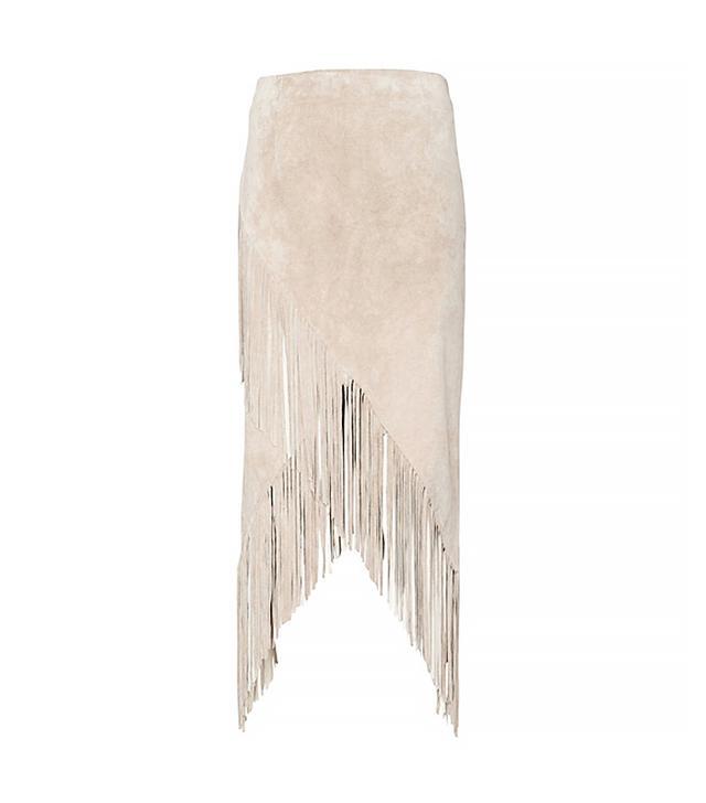 Intermix Asymmetric Suede Fringe Skirt