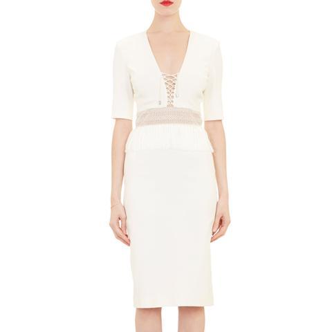 Fringe-Waist Lace-Up Dress