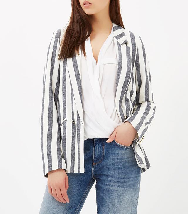 River Island Cream and Blue Stripe Tailored Blazer