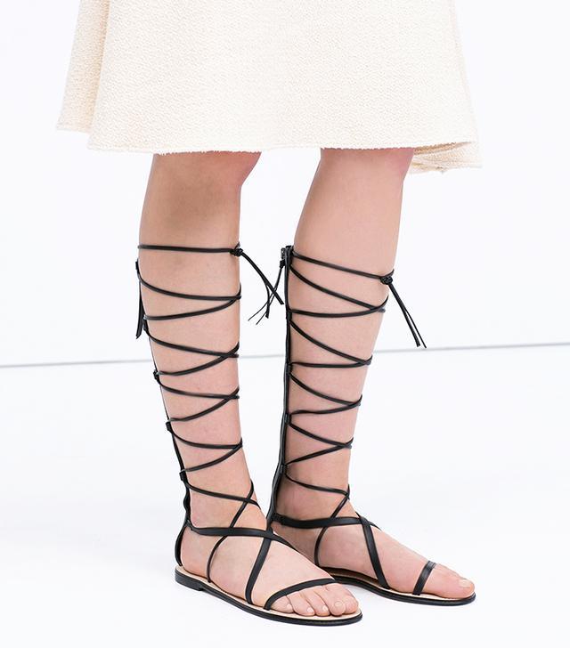 Zara Leather Gladiator Sandals
