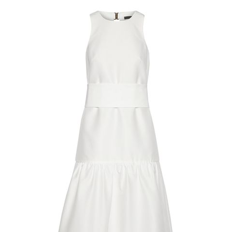 Open Back Faille Midi Dress