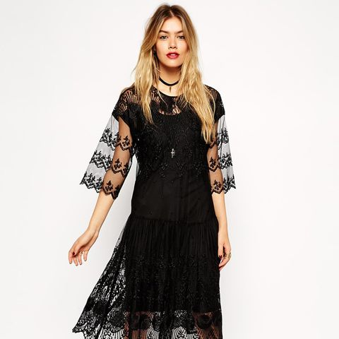 Premium Victoriana Dress with Dropped Waist with Embroidery