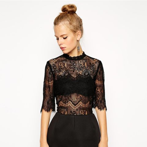 High Neck Lace Top with Bonded Lantern Skirt