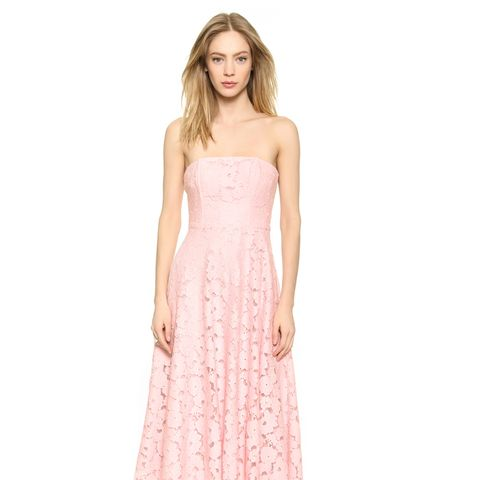 Alva Strapless Lace Midi Dress