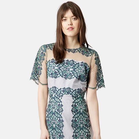 Contrast Lace Sheath Dress