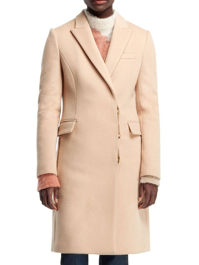 Stella McCartney Florence Fitted Asymmetric Coat in Camel
