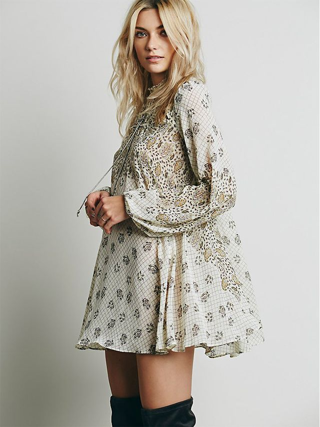 Free People Hi-Neck Printed Tunic