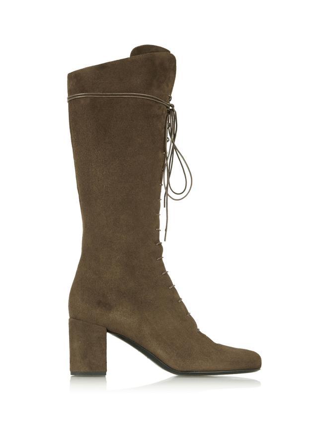 Saint Laurent Lace-Up Suede Knee Boots
