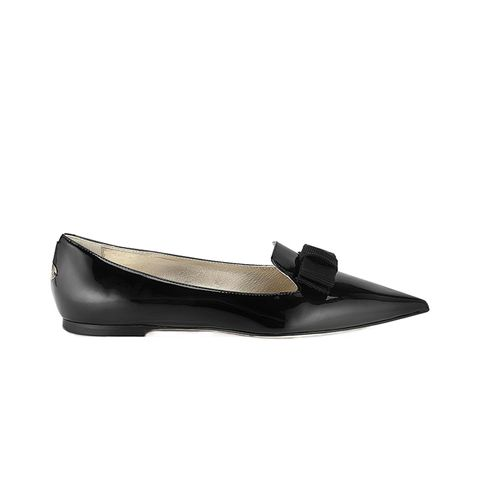 Black Patent Leather Pointy Toe Flats with Bow