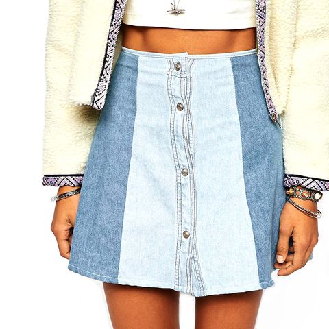 Patchwork Denim Skirt With Button Front Detail