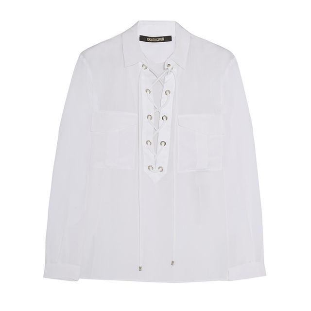 Roberto Cavalli Twill-Trimmed Lace-Up Silk Shirt