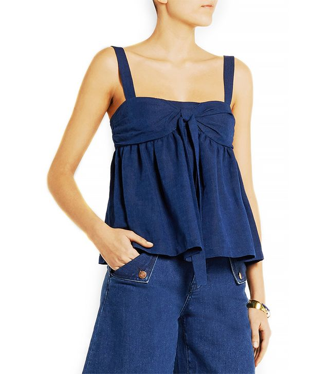 M Missoni Bow-Embellished Denim Top