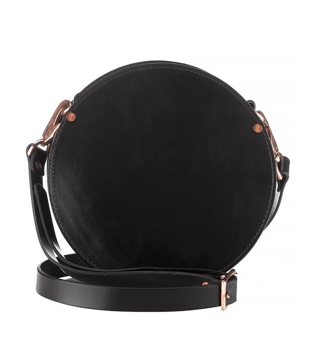 Alfie Douglas Black Leather Round Shoulder Bag