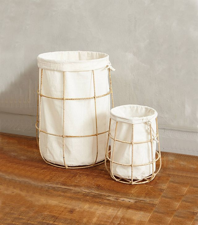 Anthropologie Framed Canvas Bins
