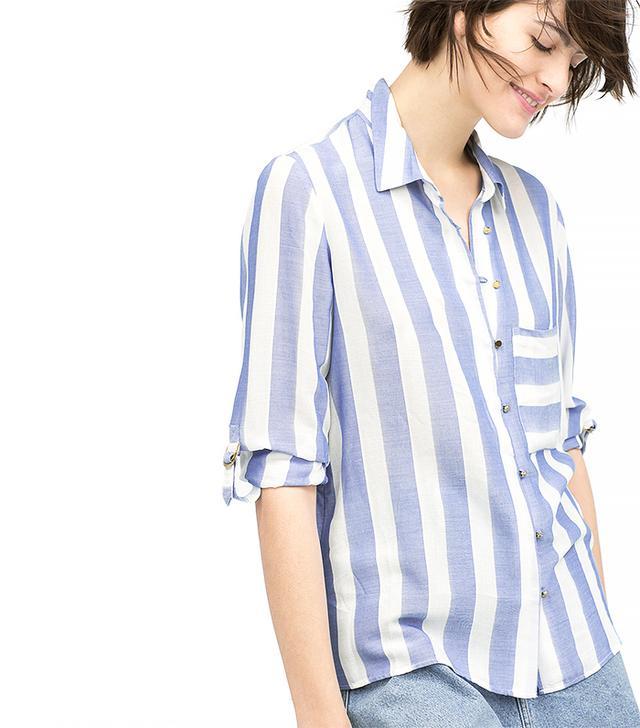 Zara Blue Wide Striped Shirt