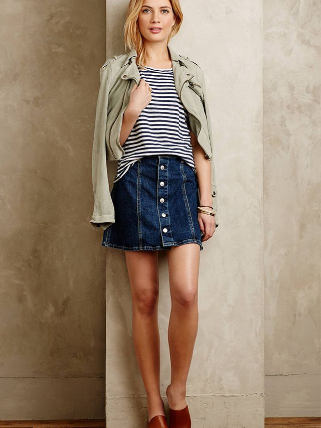Alexa Chung for AG Button-Front Denim Skirt