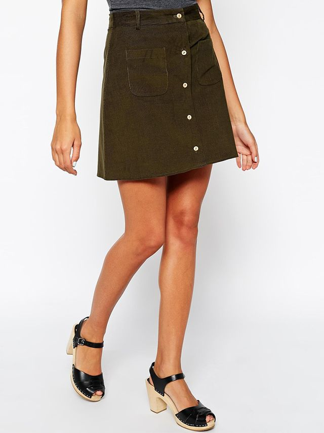 ASOS Reclaimed Vintage Mini Skirt With Button Through