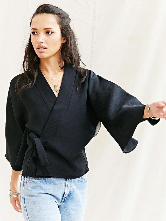 Urban Renewal Recycled Wrap Tie Kimono Jacket