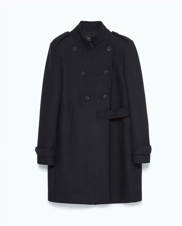 Zara Double-Breasted Military-Style Coat