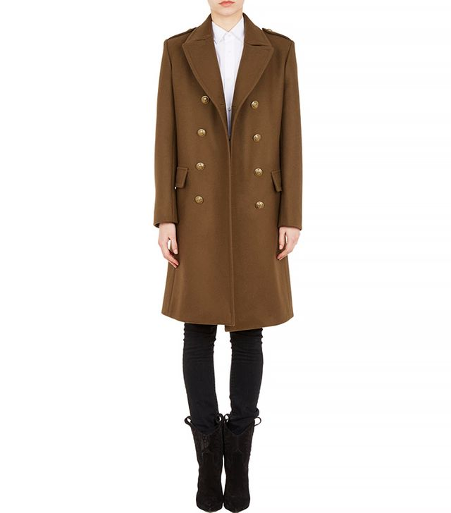 Saint Laurent Melton Double-Breasted Military Coat