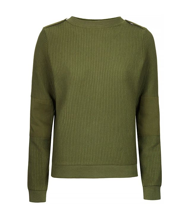 Topshop Military Ribbed Sweater
