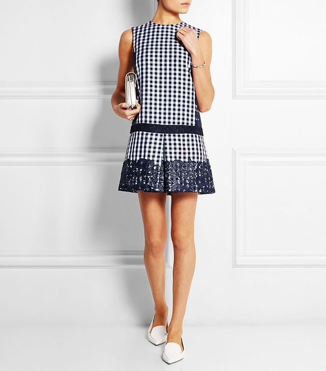 MSGM Lace-Paneled Gingham Cotton Blend Twill Mini Dress