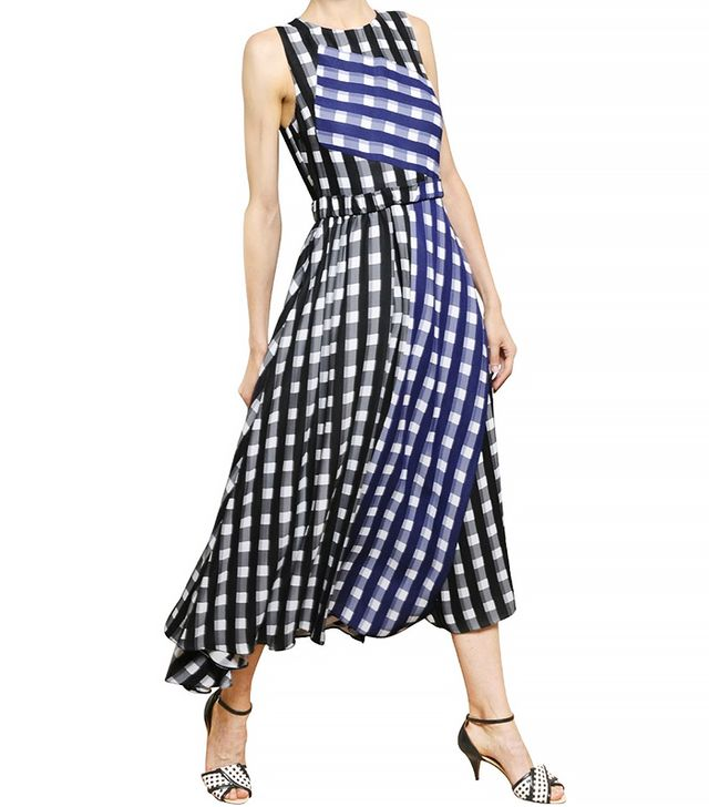Sportmax Gingham Asymmetrical Viscose Crepe Dress