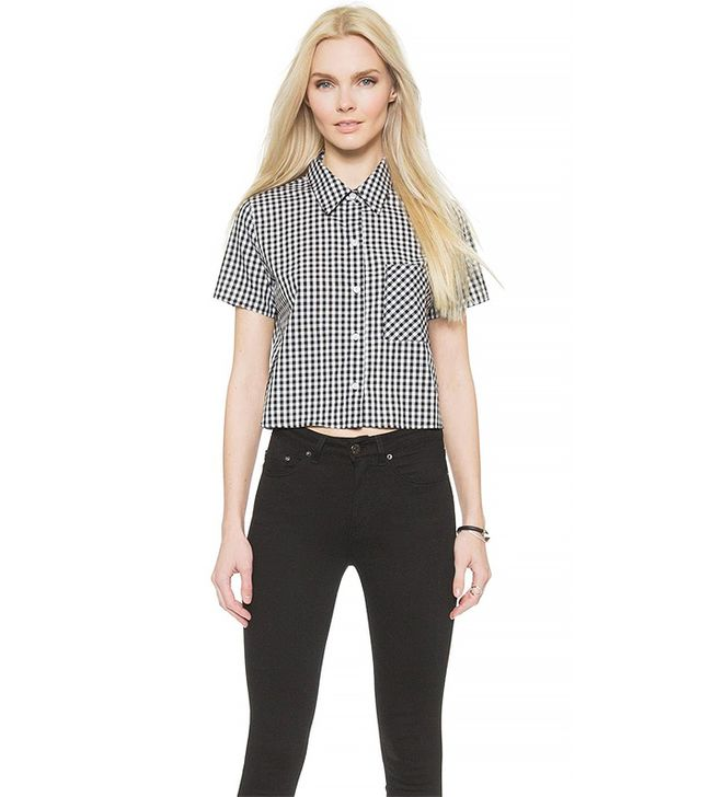 WAYF Cropped Gingham Button Down Blouse