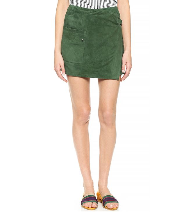 Band of Outsiders Suede Wrap Skirt