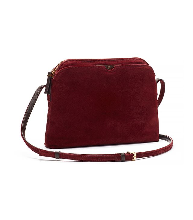 The Row Burgundy Multi-Pouch Suede Crossbody Bag