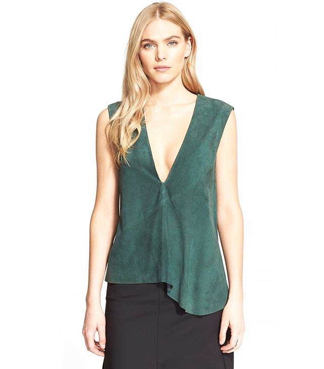 Tibi 'Feather' Suede Sleeveless V-Neck Top