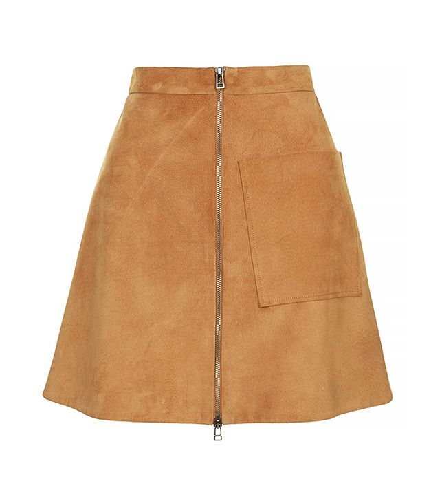 Topshop Front Zip Suede Skirt