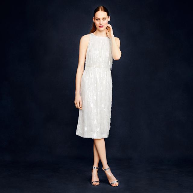 J. Crew Collection Beaded Fringe Dress
