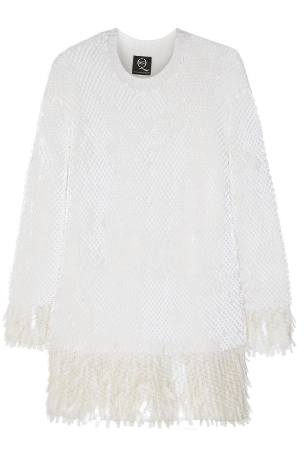 McQ Alexander McQueen Sequin-Embellished Wool Mini Sweater Dress