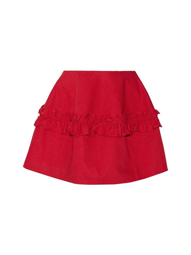 J Brand & Simone Rocha Ruffled Denim Mini Skirt