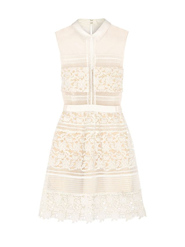 Self-Portrait Graciella Paneled Floral Lace and Mesh Mini Dress