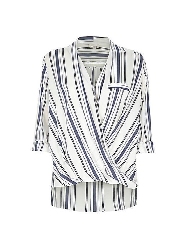 River Island Blue Stripe Wrap Front Blouse