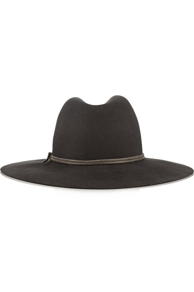 Rag & Bone Leather Trimmed Wool-Fedora Hat