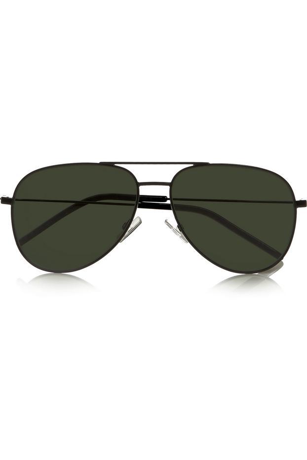 Saint Laurent Aviator Style Stainless Steel Sunglasses