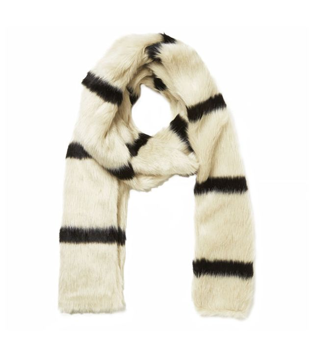 Maison Scotch Faux Fur Stripe Scarf