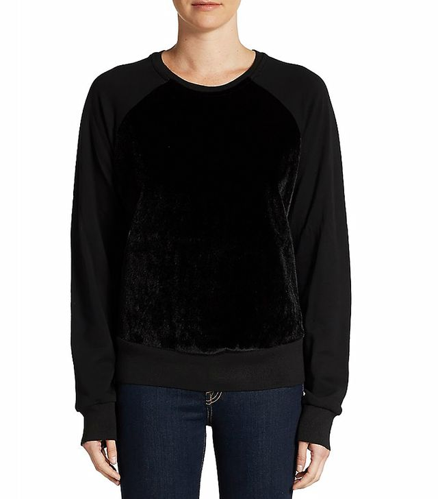 Saks Fifth Avenue RED Faux Fur Sweatshirt