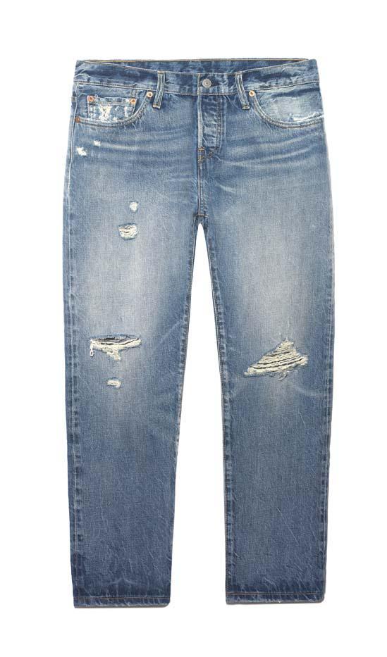 Levi's 501 CT Distressed Mid-Rise Straight-Leg Jeans