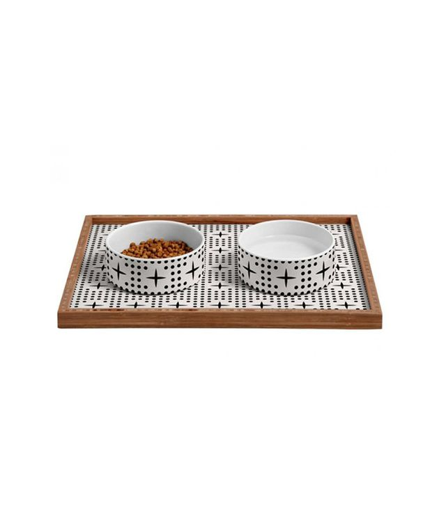 DENY Dot and Plus Mudcloth Pet Bowl and Tray