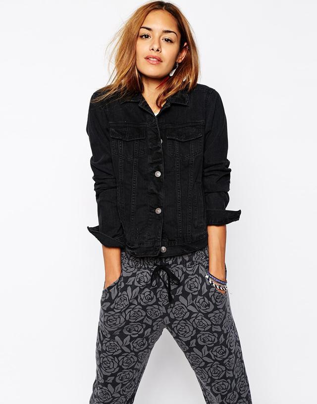 Abercrombie & Fitch Distressed Oversized Denim Jacket