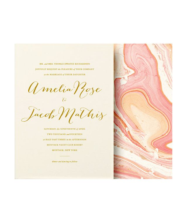 Oak & Orchid Gold Calligraphy Wedding Invitation Suite
