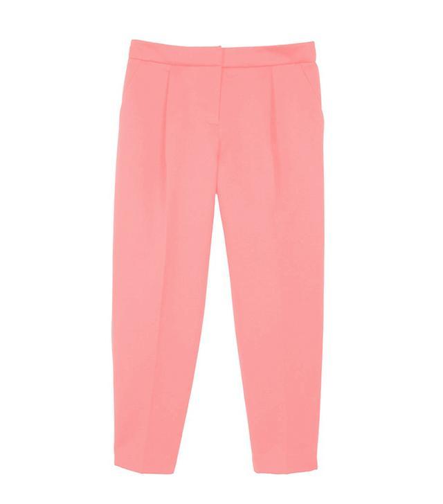 Tibi Satin Pleated Cropped Pants