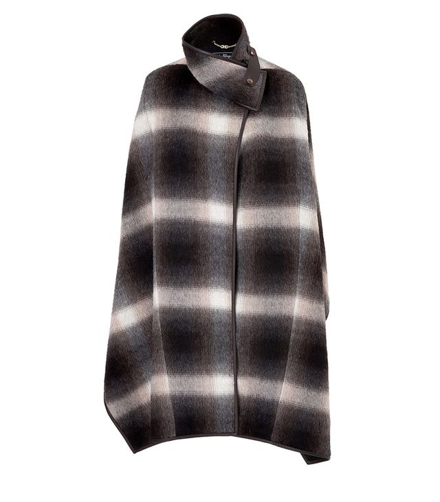 Salvatore Ferragamo Alpaca Checked Poncho