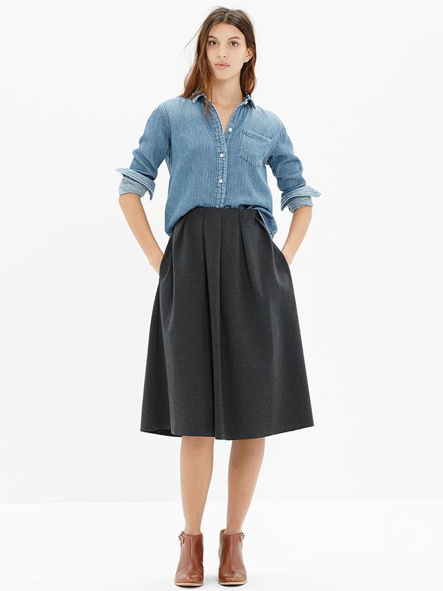 Madewell Pleated Ponte Midi Skirt