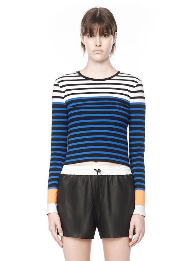 T by Alexander Wang Engineered Stripe Long Sleeve Tee